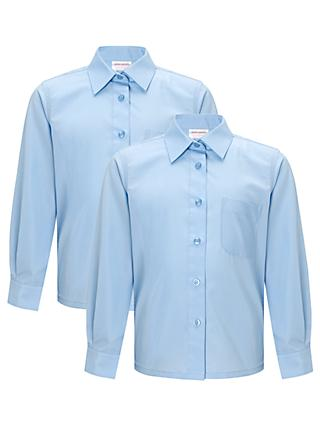 John Lewis & Partners Girls' Non-Iron Long Sleeve School Blouse, Pack of 2