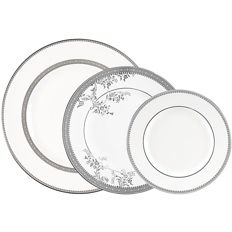 Buy Vera Wang for Wedgwood Lace Platinum 27cm Dinner Plate, White Online at johnlewis.com