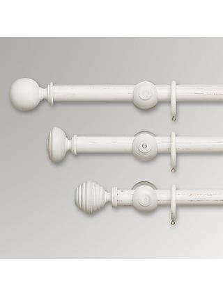 John Lewis & Partners Scratched White Wood Curtain Poles, Dia.35mm