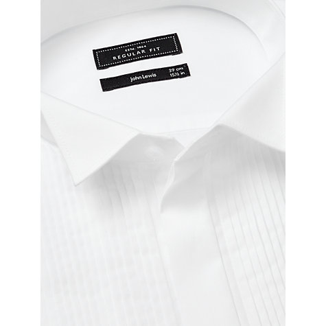 Buy John Lewis Pleated Front Wing Collar Double Cuff Regular Fit Dress Shirt, White Online at johnlewis.com
