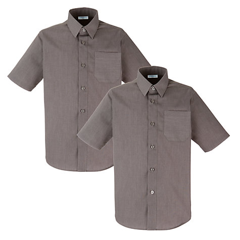 Buy John Lewis Boys' Short Sleeve Non-Iron School Shirt, Pack of 2, Grey Online at johnlewis.com
