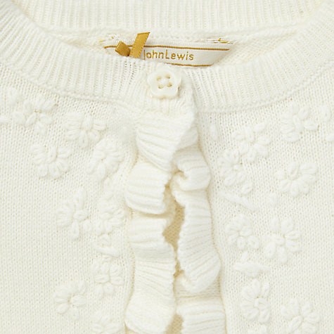 Buy John Lewis Baby Ruffle Shrug Cardigan, Ecru Online at johnlewis.com