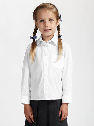 Buy John Lewis & Partners Girls' Non-Iron Long Sleeve School Blouse, Pack of 2, White, Age 4 Online at johnlewis.com