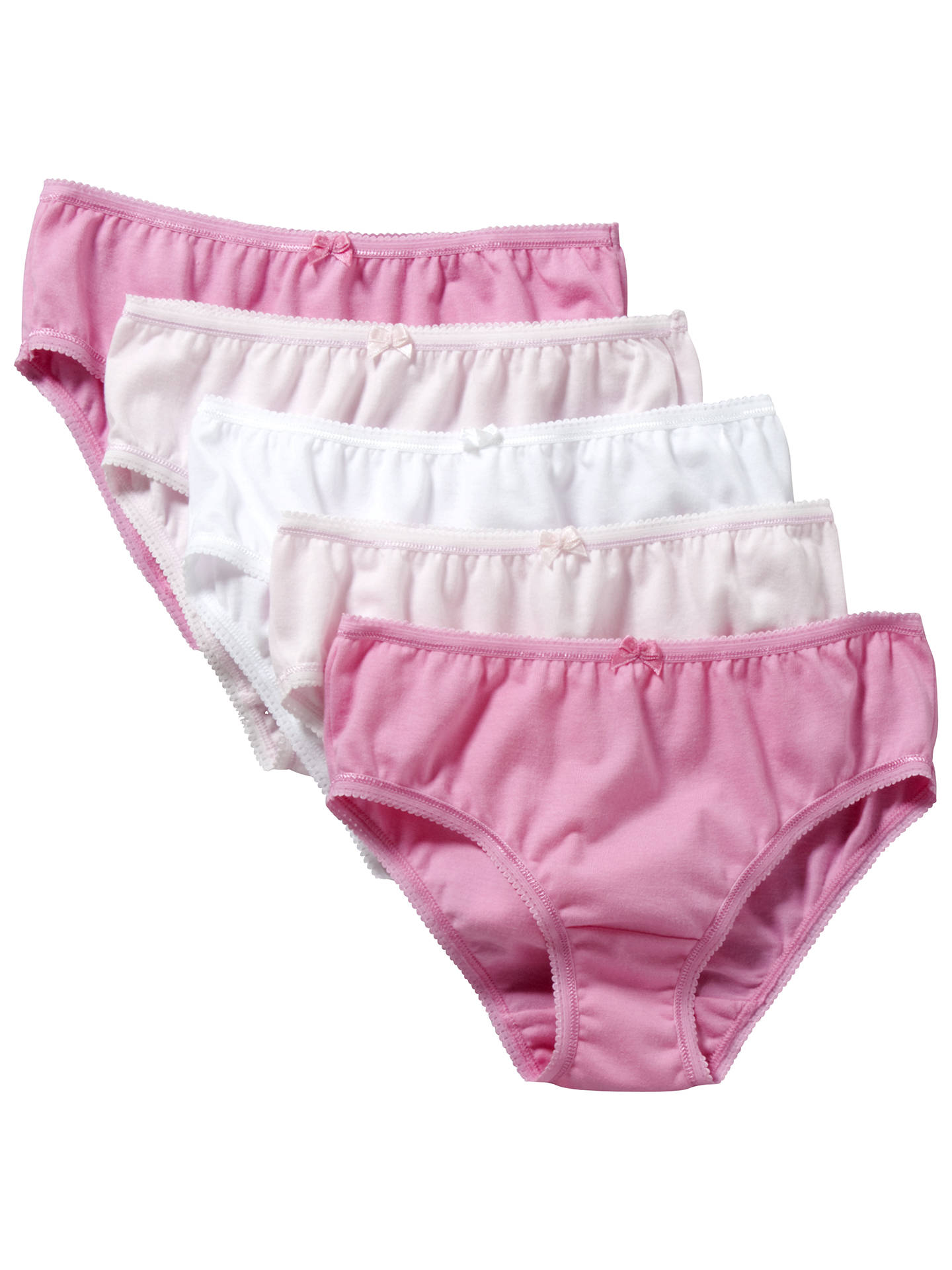 7724ba3dae1f John Lewis & Partners Girls' Briefs, Pack of 5, Pink at John Lewis ...