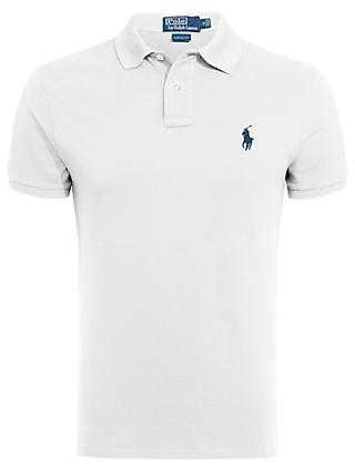 Polo Ralph Lauren Short Sleeve Slim Fit Polo Shirt, Polo White