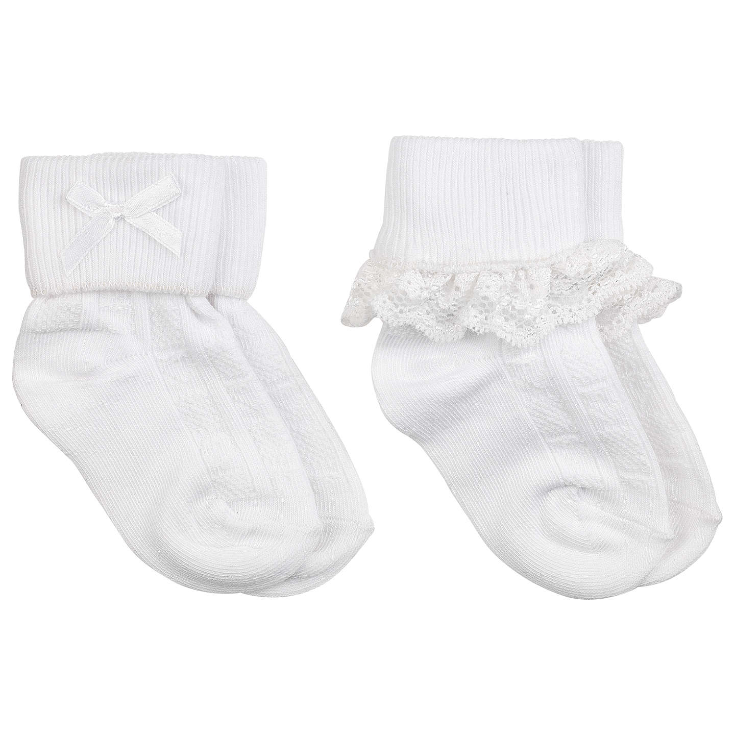 John Lewis Baby Lace Trim Socks Pack of 2 at John Lewis