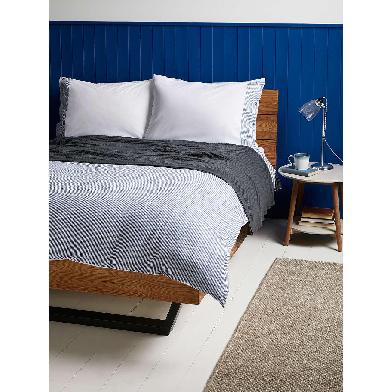 John Lewis Textured And Decorative Stonewash Stripe Cotton Duvet Cover Light Blue Single Online