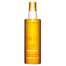 Buy Clarins Sun Care Spray Gentle Milk-Lotion Moderate Protection UVB20 Online at johnlewis.com