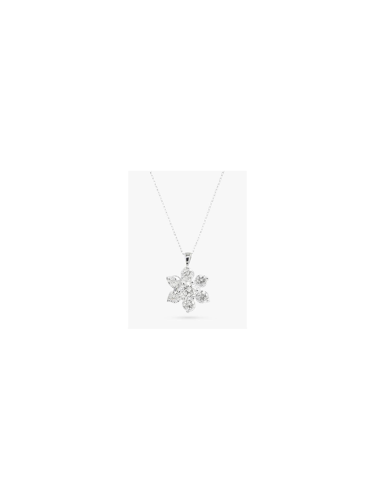 03046e18995c68 Buy E.W Adams 18ct White Gold Diamond Star Cluster Pendant, White Gold  Online at johnlewis ...