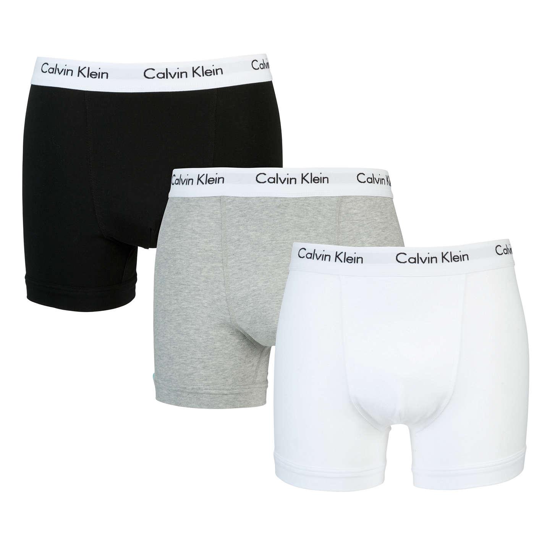 Calvin Klein Underwear Cotton Stretch Trunks Pack of 3 White Grey