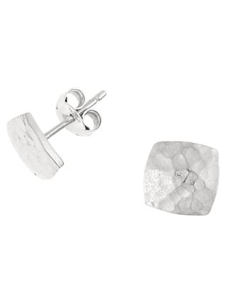 Dower & Hall Sterling Silver Nomad Square Stud Earrings, Silver