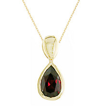 Buy EWA 9ct Gold Garnet Pendant Necklace Online at johnlewis.com