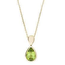 Buy EWA 9ct Yellow Gold and Peridot Drop Pendant Necklace, Gold/Green Online at johnlewis.com