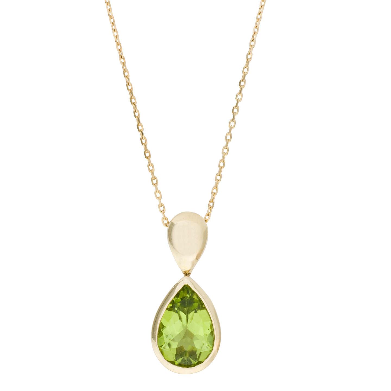 Ruby Wedding Gifts John Lewis: EWA 9ct Yellow Gold And Peridot Drop Pendant Necklace