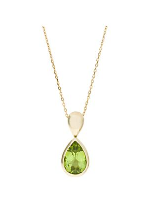 EWA 9ct Yellow Gold and Peridot Drop Pendant Necklace, Gold/Green