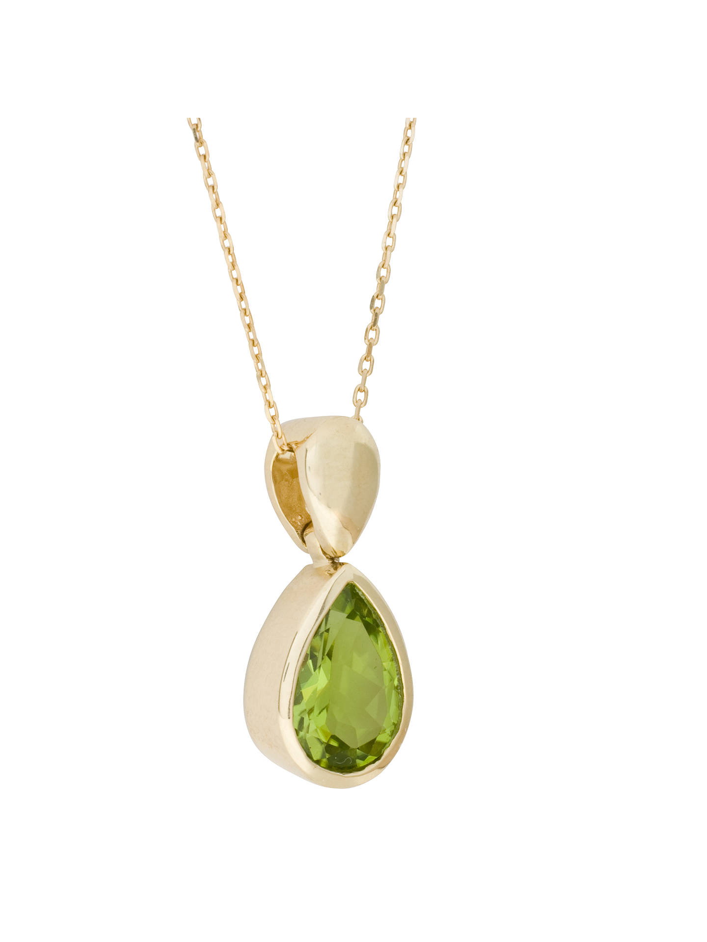 Buy E.W Adams 9ct Yellow Gold Peridot Drop Pendant Necklace, Gold/Green Online at johnlewis.com