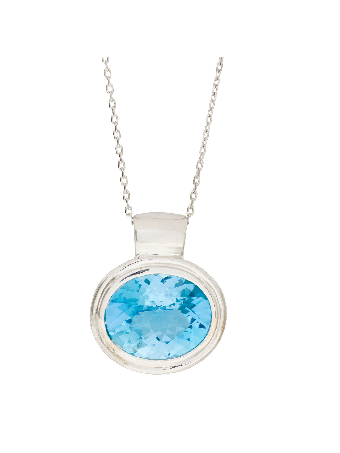 BuyLondon Road White Gold Oval Topaz Pendant Necklace Online at johnlewis.com