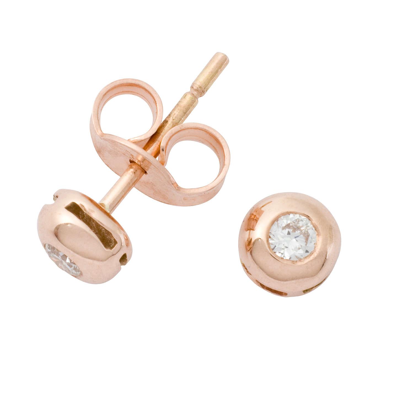 London Road Rose Gold Diamond Stud Earrings
