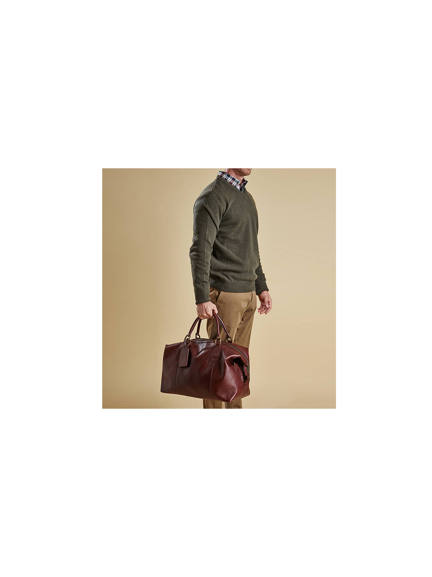 Buy Barbour Leather Explorer Bag, Brown Online at johnlewis.com