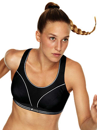 Buy Shock Absorber Ultimate Run Sports Bra, Black / Silver, 32D Online at johnlewis.com