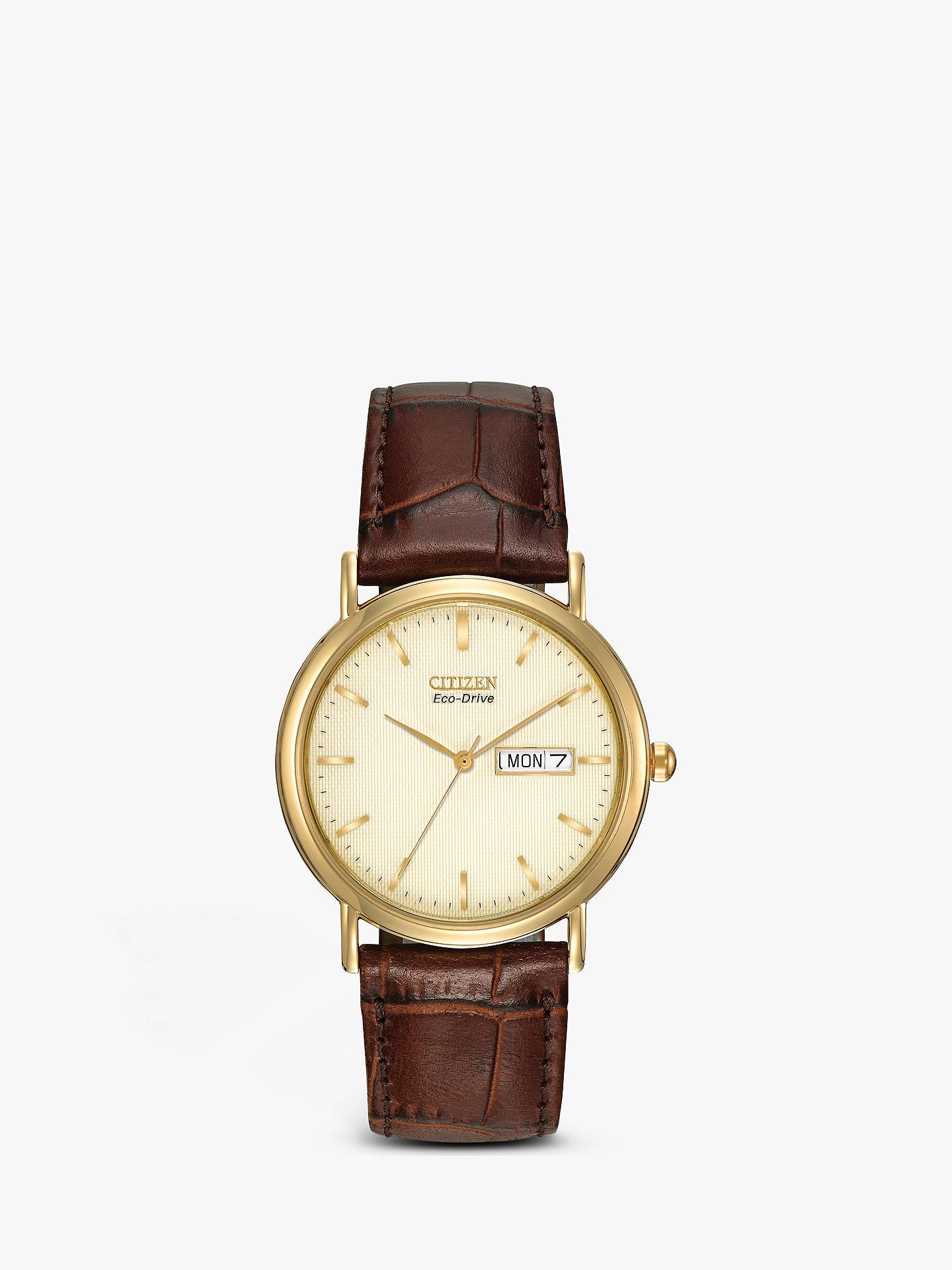 2a5ed095b Buy Citizen BM8242-08P Men's Eco-Drive Leather Strap Watch, Brown/Gold ...
