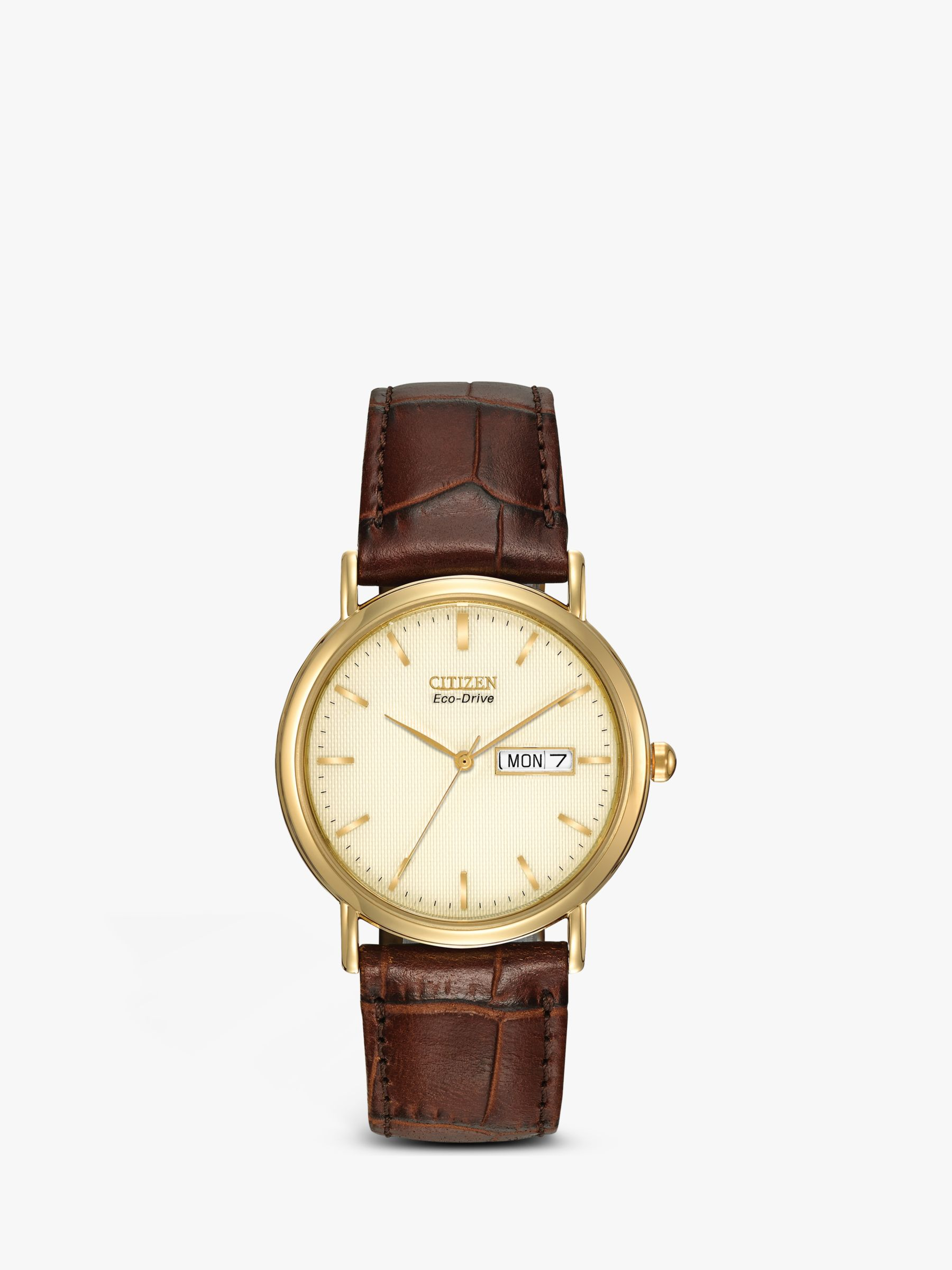 Citizen Citizen BM8242-08P Men's Eco-Drive Leather Strap Watch, Brown/Gold