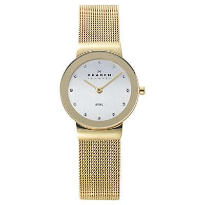 Skagen 358SGGD Women's Stainless Steel Bracelet Strap Watch, Gold/White