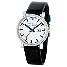 Buy Mondaine A6693030011SBB Unisex Evo Big Date Leather Strap Watch, Black/White Online at johnlewis.com