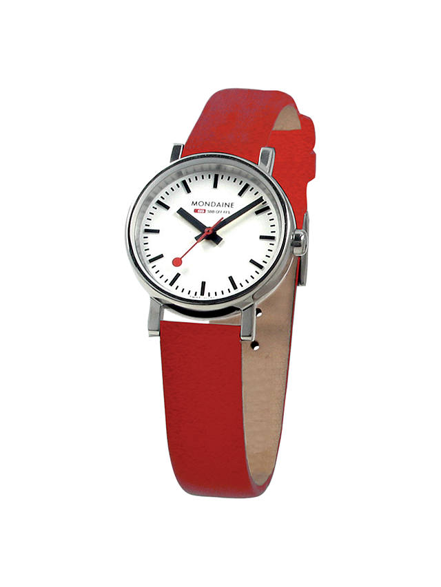Buy Mondaine A6583030111SBC Unisex Evo Leather Strap Watch, Red/White Online at johnlewis.com