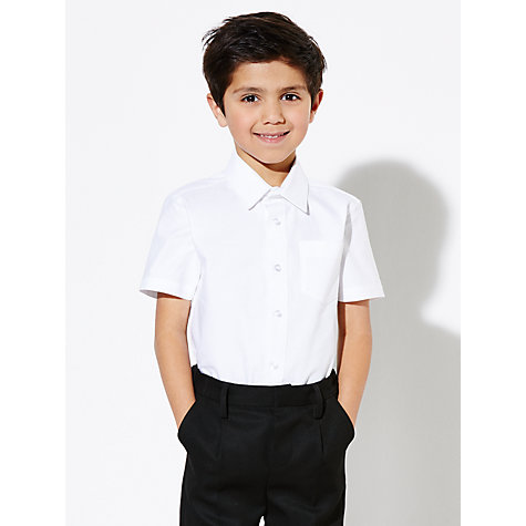 Buy John Lewis Boys' Short Sleeved Pure Cotton School Shirt, White Online at johnlewis.com