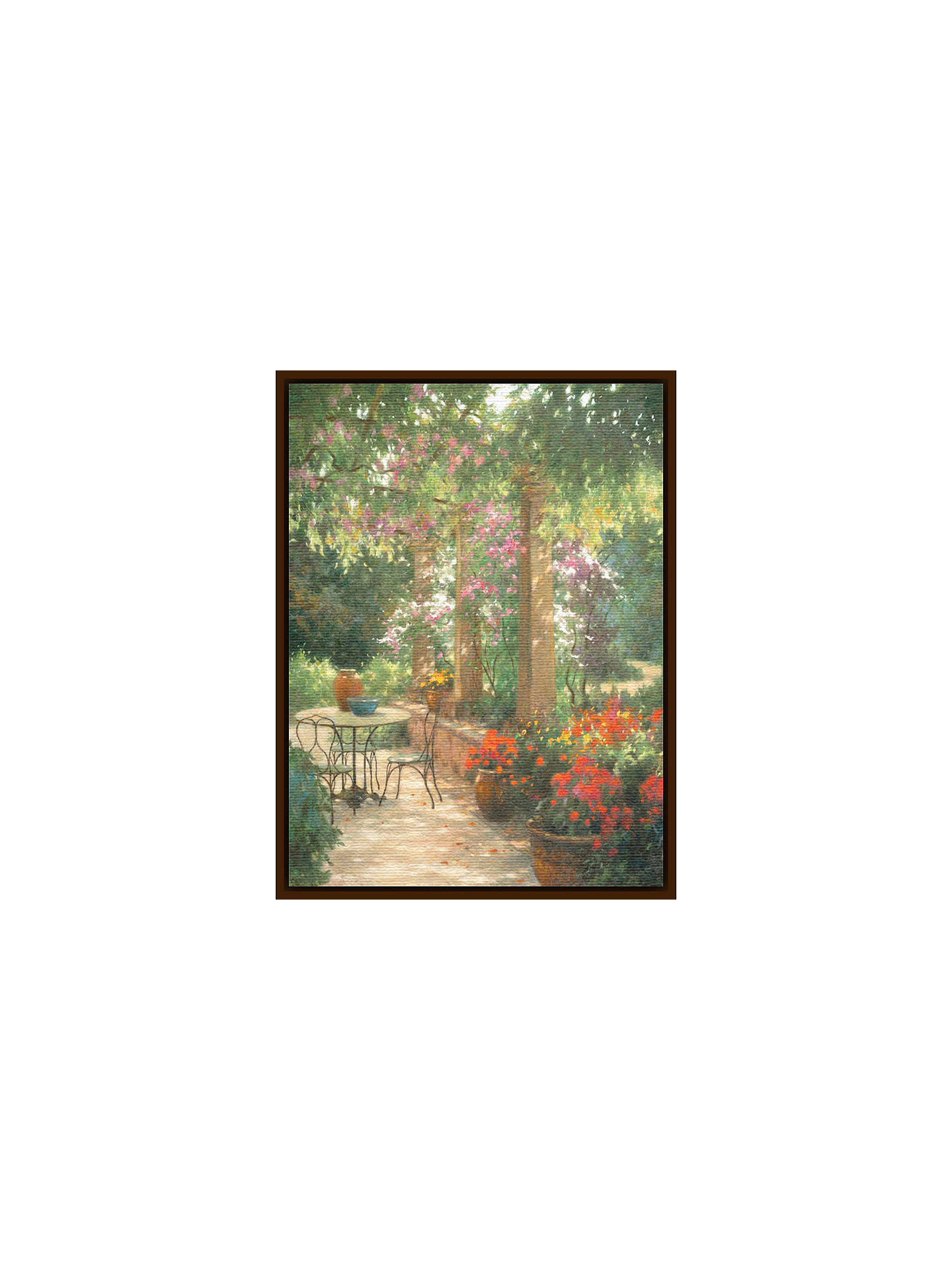BuyAllan Myndzak - Under The Trellis, Dark Brown Framed Canvas, 82 x 110cm Online at johnlewis.com