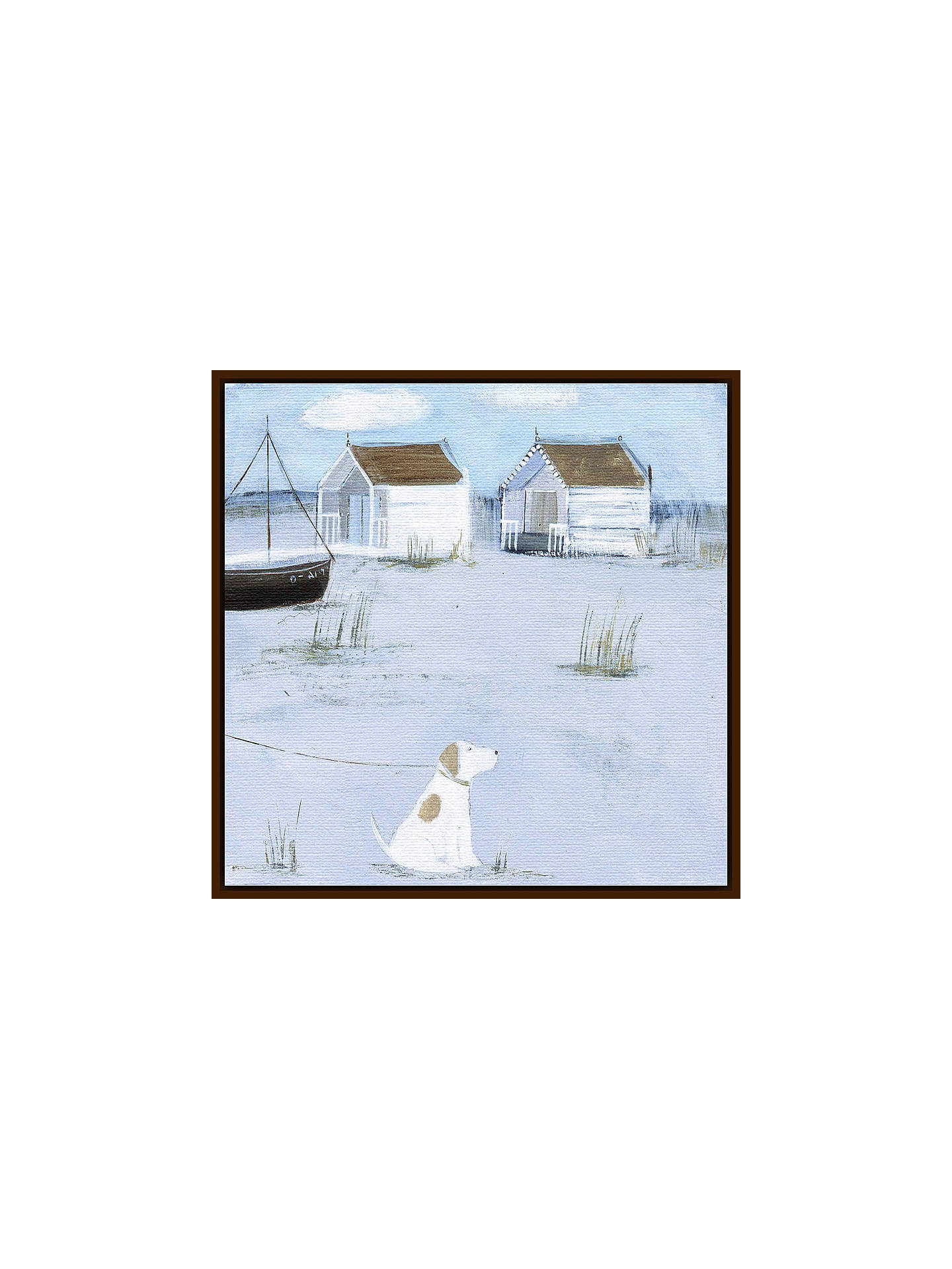 BuyHannah Cole - By The Beach Huts, Dark Brown Framed Canvas, 40 x 40cm Online at johnlewis.com