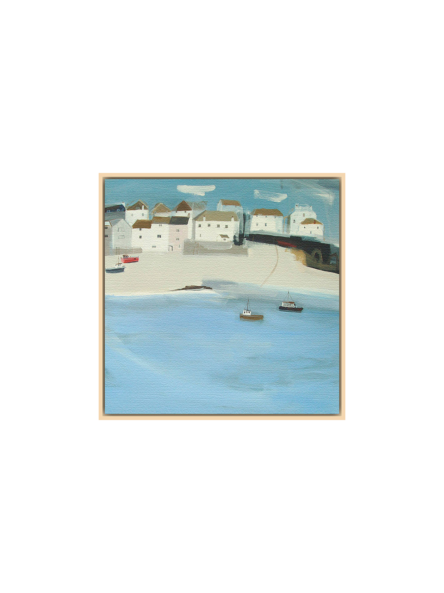 BuyHannah Cole - Red Boat, Natural Ash Framed Canvas, 40 x 40cm Online at johnlewis.com