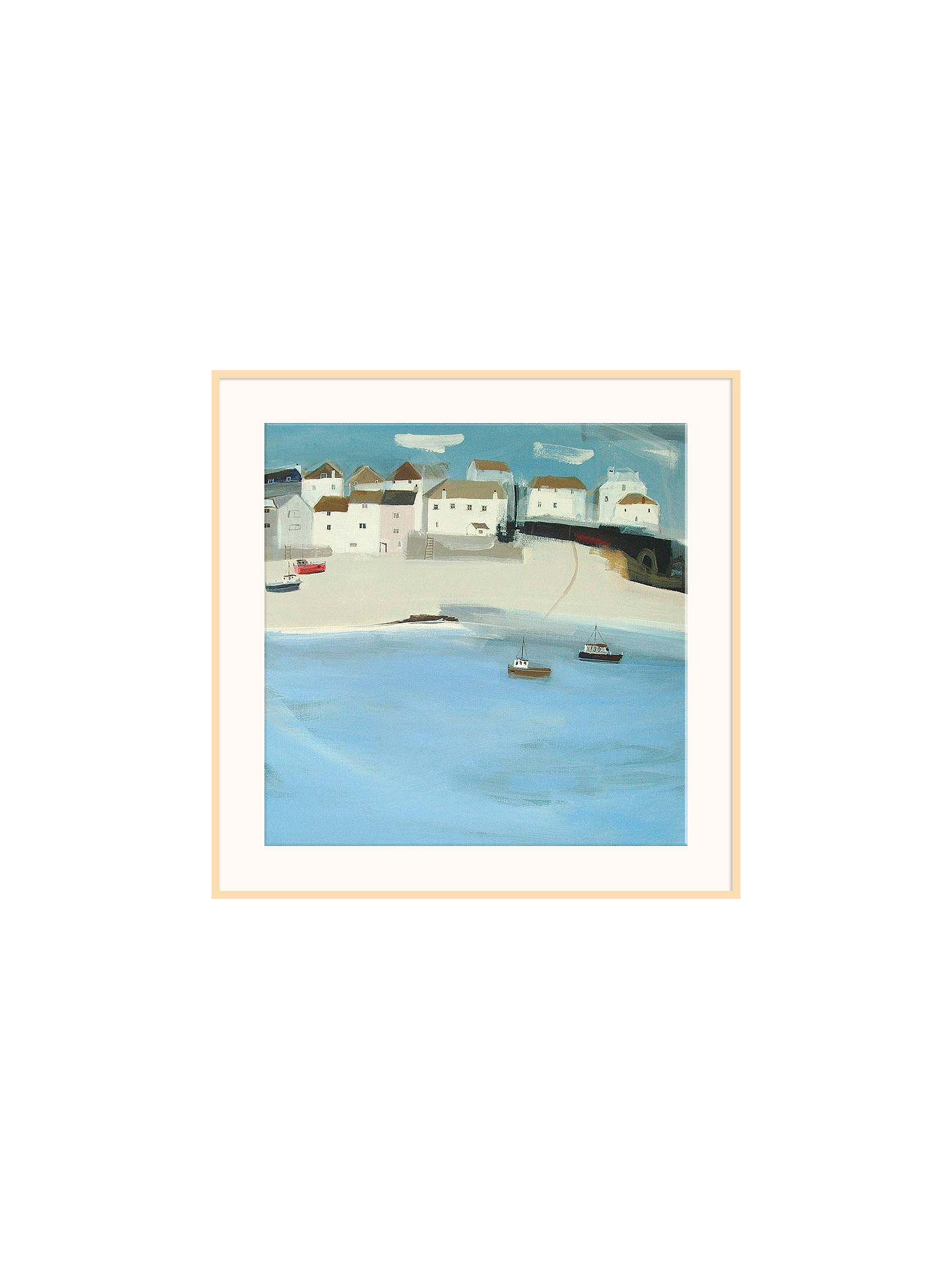 BuyHannah Cole - Red Boat, Natural Ash Framed Print, 40 x 40cm Online at johnlewis.com