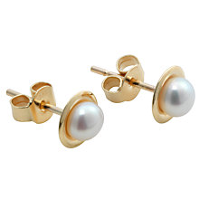 Buy A B Davis 9ct Gold Freshwater White Pearl Stud Earrings, White Online at johnlewis.com