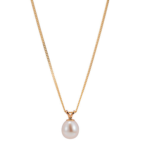 Buy A B Davis Freshwater Pearl Pendant Necklace, Gold/White Online at johnlewis.com