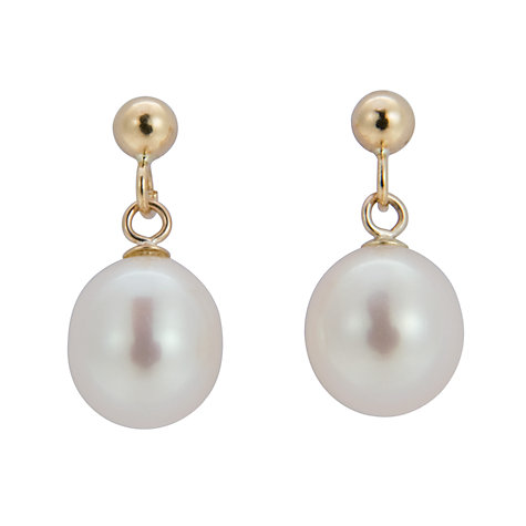 Buy A B Davis 9ct Gold Freshwater Pearl Pear Shaped Drop Earrings Online at johnlewis.com