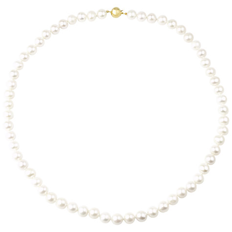 Buy A B Davis 9ct Gold Pearl Necklace, White Online at johnlewis.com