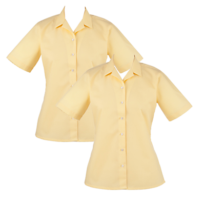 Product photo of Girls school open neck short sleeve blouse pack of 2 gold