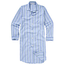 Buy Derek Rose Savile Collection Stripe Brushed Cotton Nightshirt, Blue/White Online at johnlewis.com