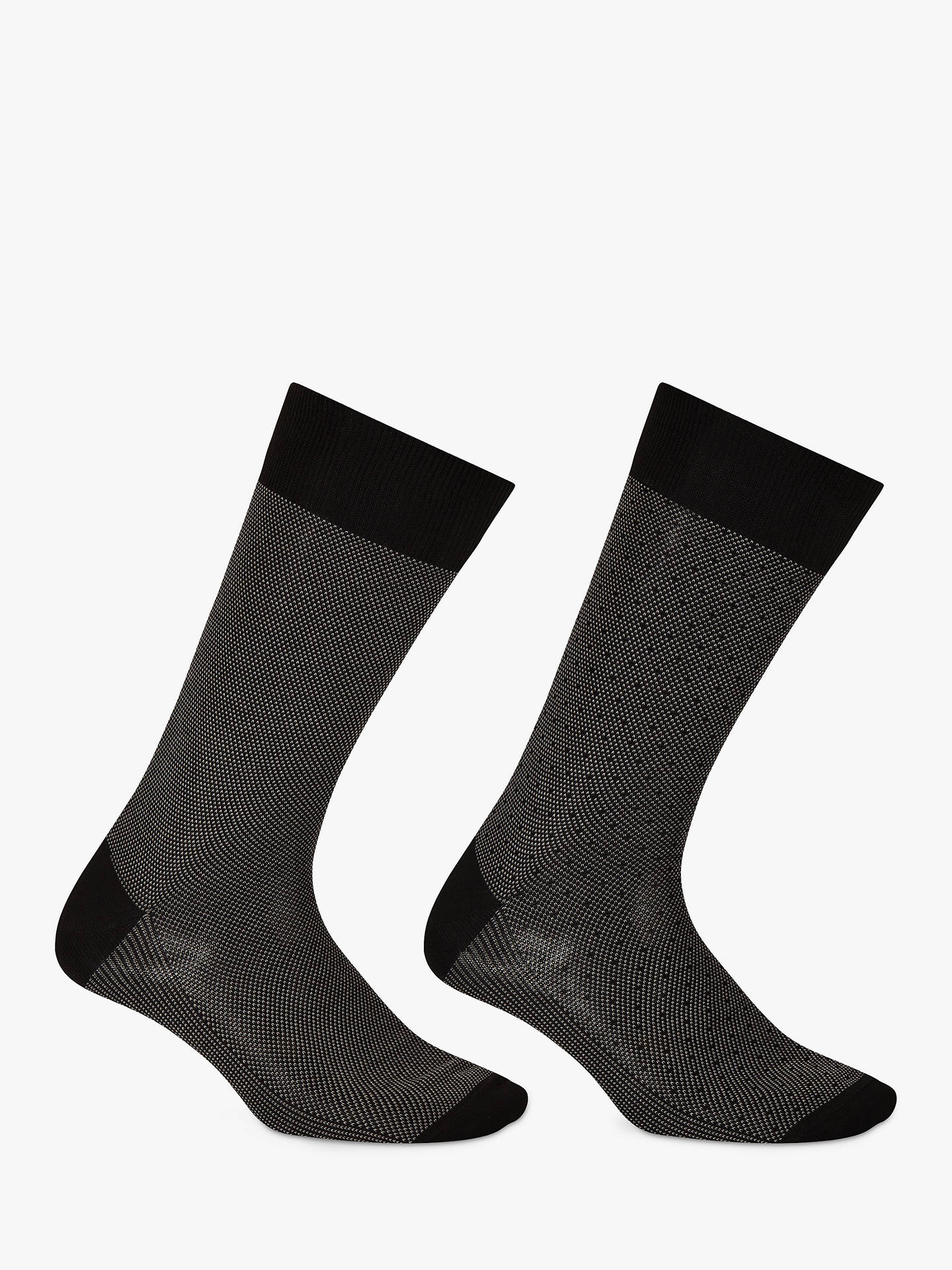 BuyJohn Lewis & Partners Birdseye Egyptian Cotton Socks, Pack of 2, Black, S Online at johnlewis.com