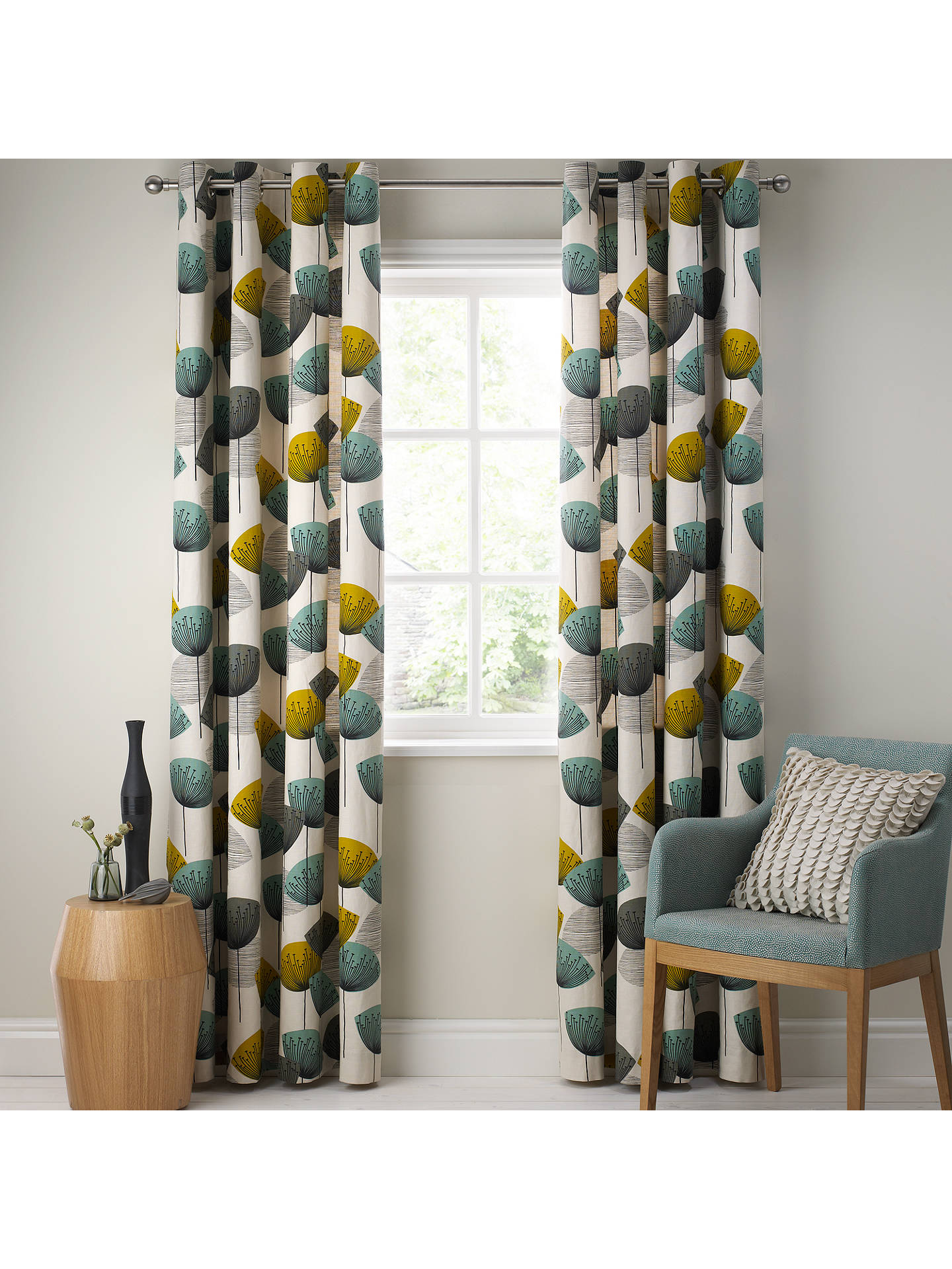 Sanderson Dandelion Clocks Pair Lined Eyelet Curtains Aqua