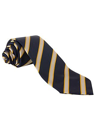 St John's Senior School Boys Striped Tie, Navy/Yellow