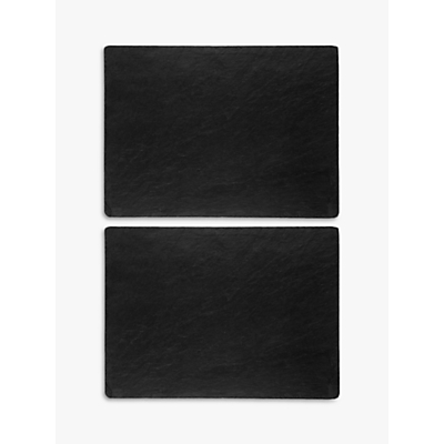 Just Slate Placemats, Set of 2, Dark Grey