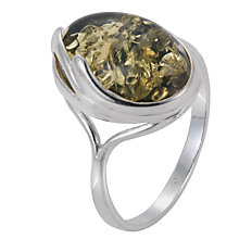 Buy Goldmajor Green Amber Oval Silver Ring Online at johnlewis.com