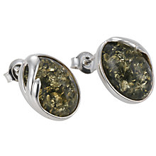 Buy Goldmajor Oval Green Amber Stud Earrings Online at johnlewis.com