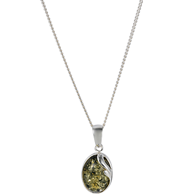 Goldmajor Green Amber Oval Silver Pendant Necklace