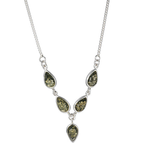 Buy Goldmajor Sterling Silver Amber Y Collar Necklace, Silver/Green Online at johnlewis.com