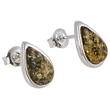 Buy Goldmajor Sterling Silver Amber Teardrop Stud Earrings, Silver/Green Online at johnlewis.com