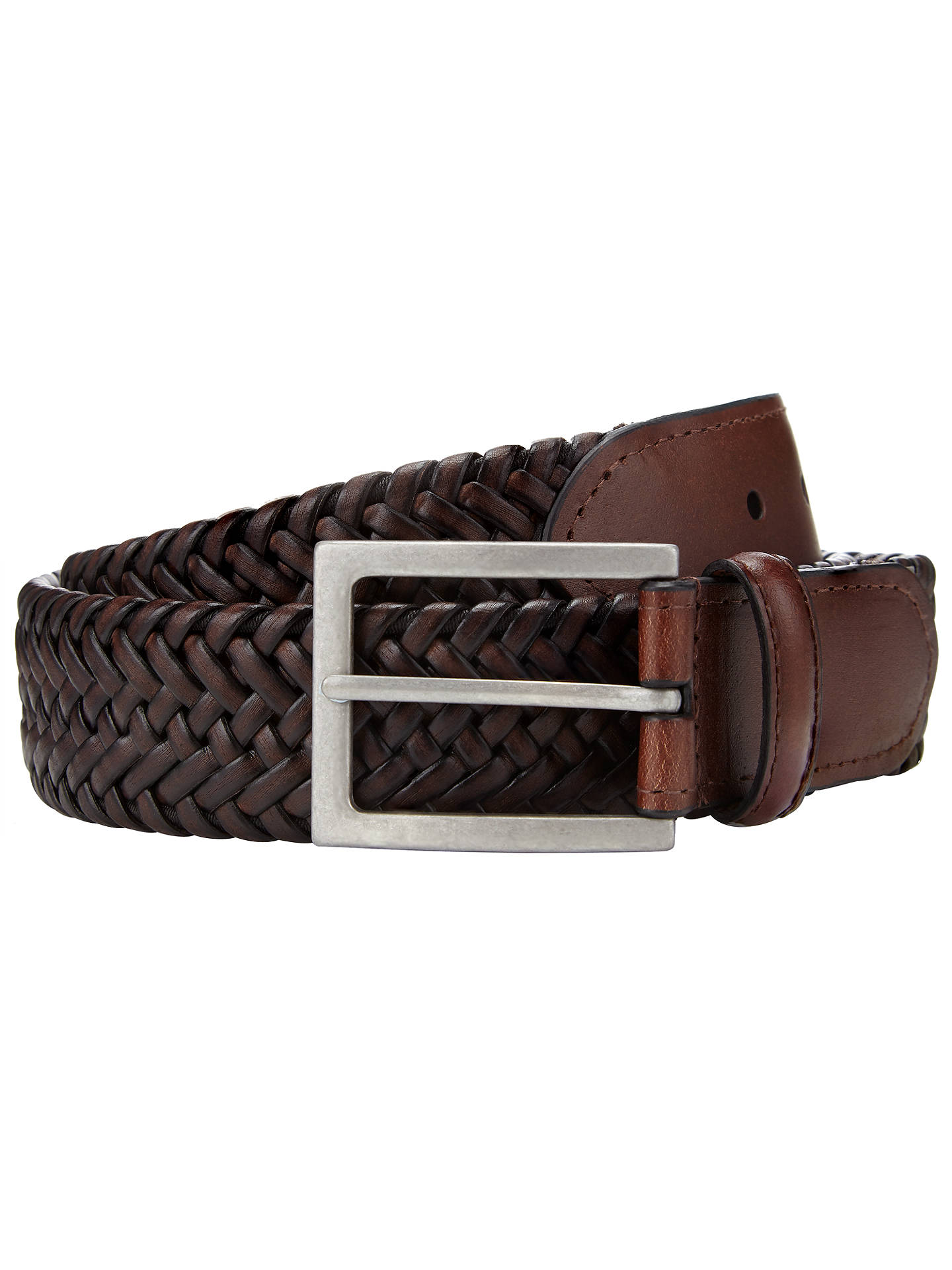 Buy John Lewis & Partners Elastic Plait Belt, Brown, S Online at johnlewis.com